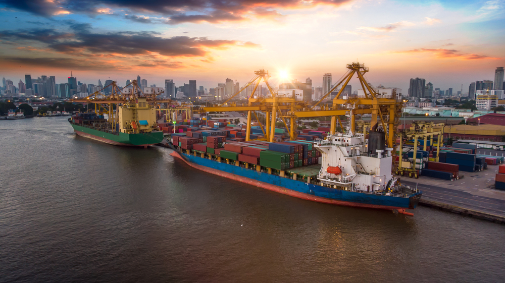 Ships Moored at Container Port