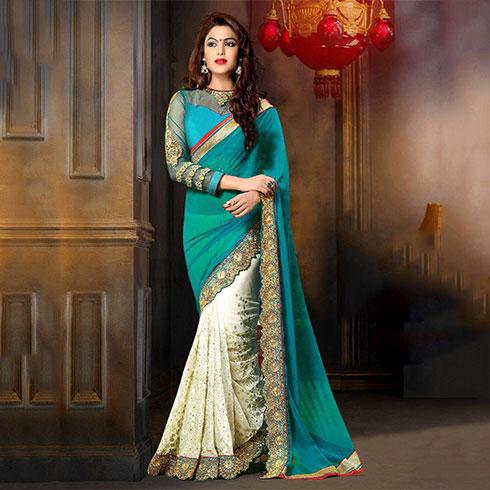 Blue and Cream Half Sari