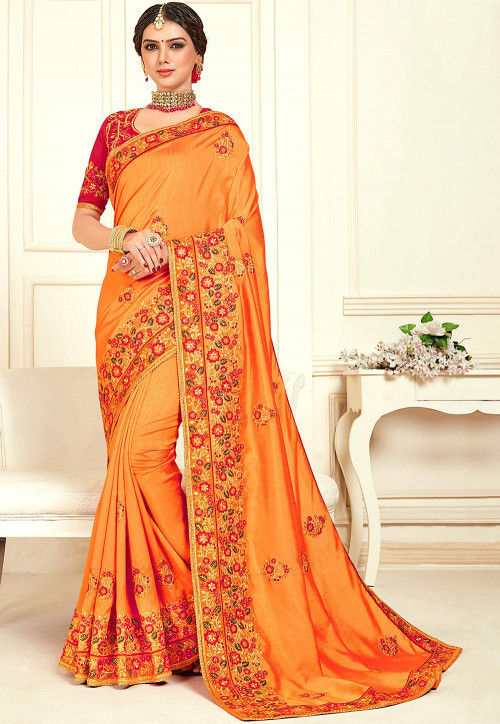 Orange Patched Saree with Gota Embroidery