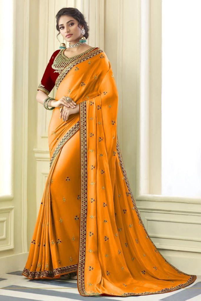 Orange Wedding Saree Online Shopping