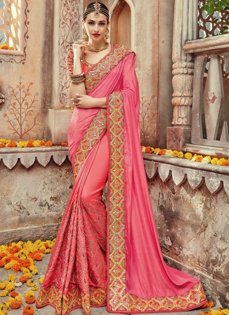 Pink Saree with Gold Embroidery